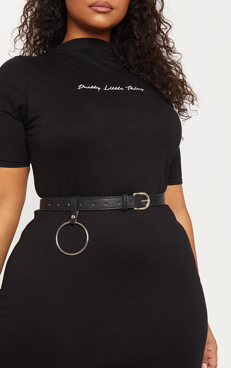 07a6f52a17fcd9 Plus Black Faux Leather Ring Detail Belt