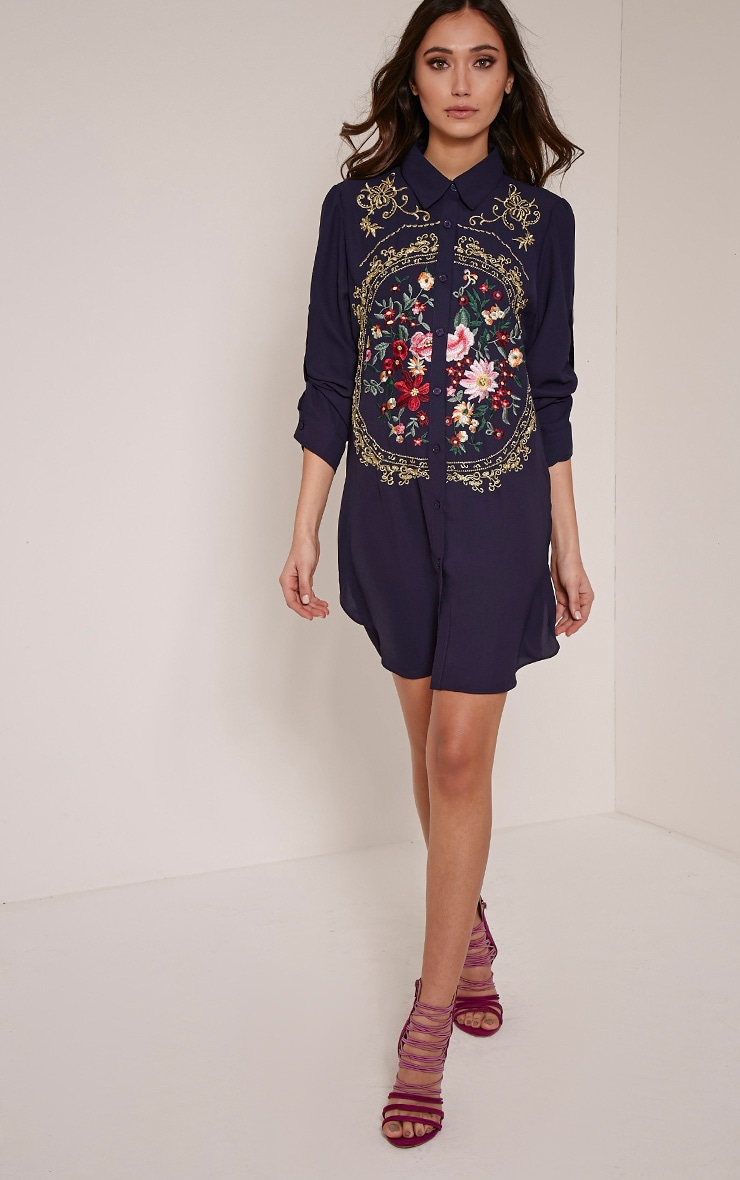 Lyron Navy Embroidered Sheer Shirt Dress 3