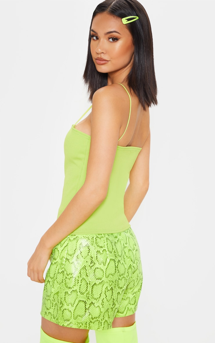 Lime Structured Rib Strappy Cami Top 2
