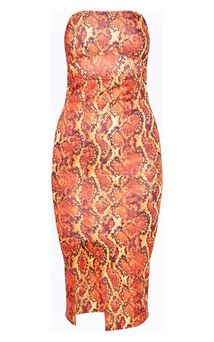 Orange Scuba Snake Print Cut Out Bandeau Midi Dress 3