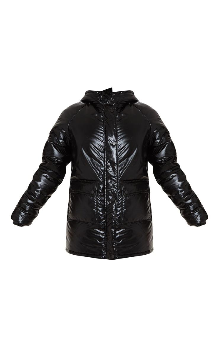 Tall Black Metallic Puffer Coat 3