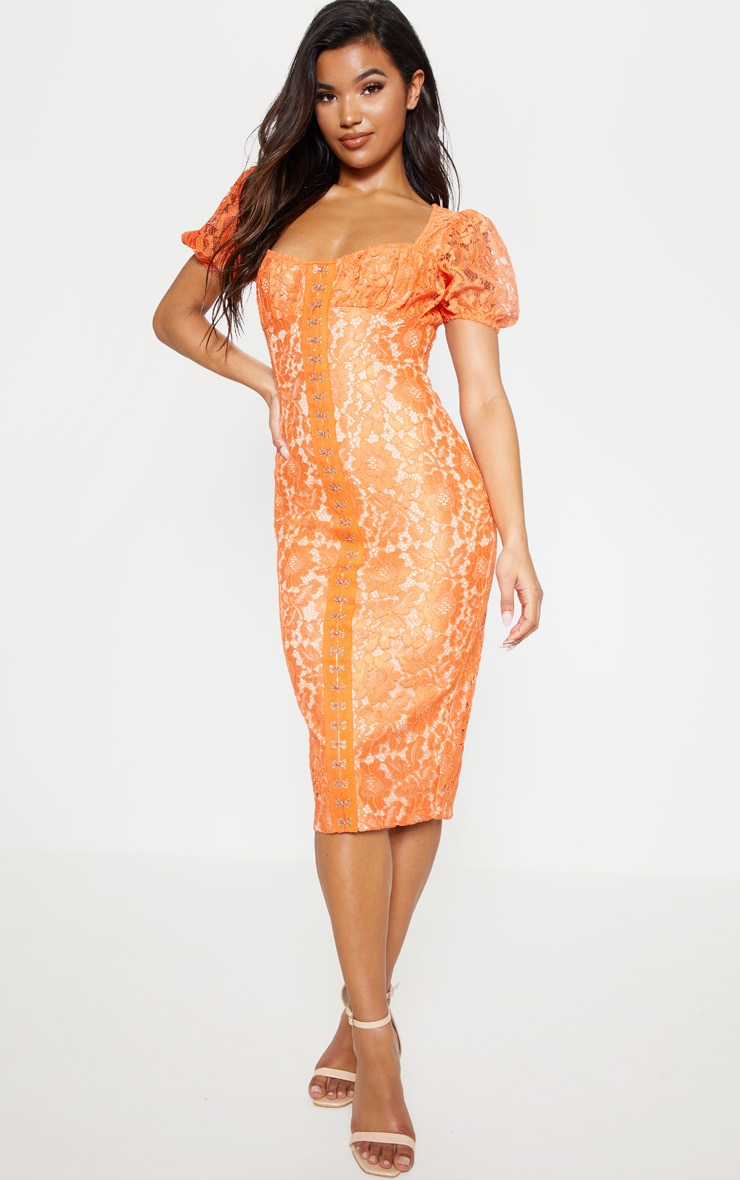 Orange Lace Puff Sleeve Midi Dress