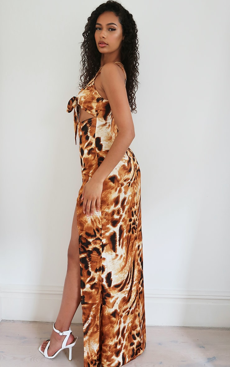 Brown Animal Print Satin Tie front Strappy Maxi Dress 2