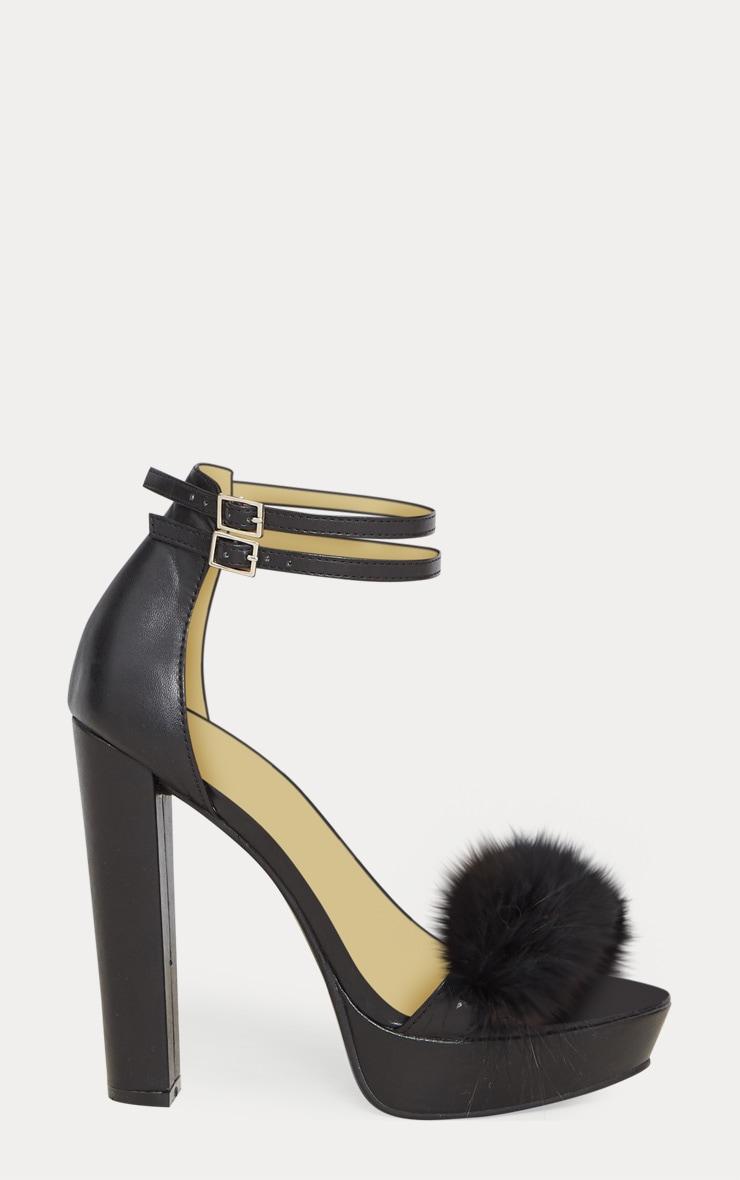 Shea sandales plateformes cuir synthétique style fourrure noires 3