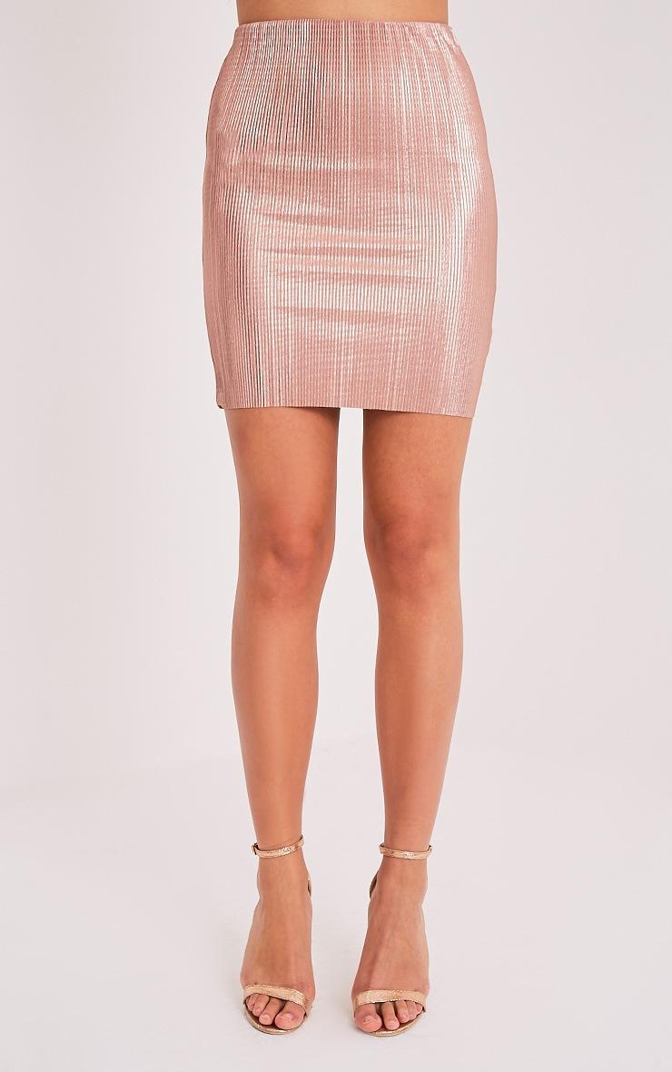 Tandy Metallic Rose Gold Pleated Mini Skirt 2