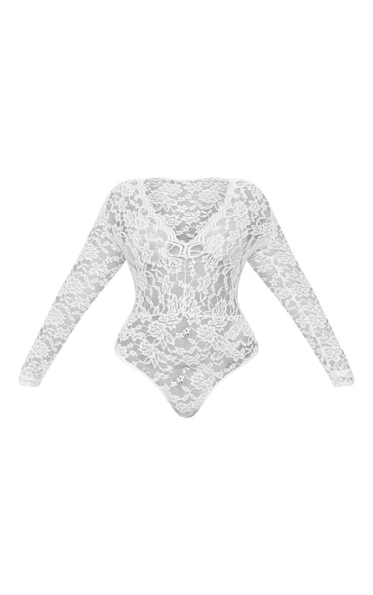 Plus White Sheer Lace Plunge Long Sleeve Bodysuit 3