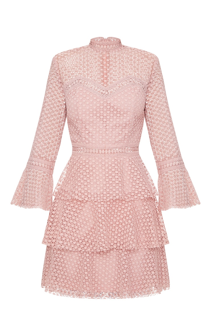 Dusty Pink Flare Sleeve Lace Tiered Mini Dress  3