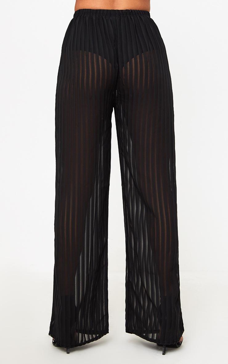 Black Stripe Chiffon Beach Trousers  3
