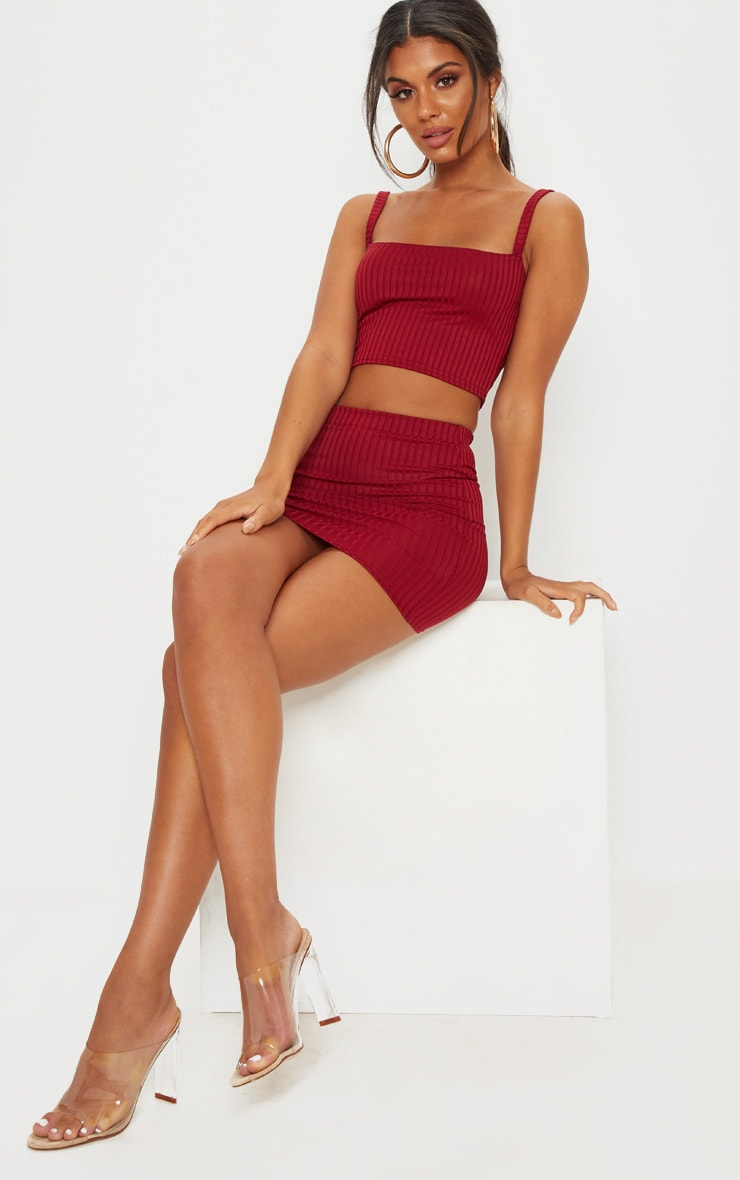 Burgundy Rib Square Neck Crop Top 1