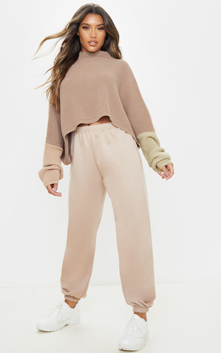 Stone Oversized Colour Block Sweater 4