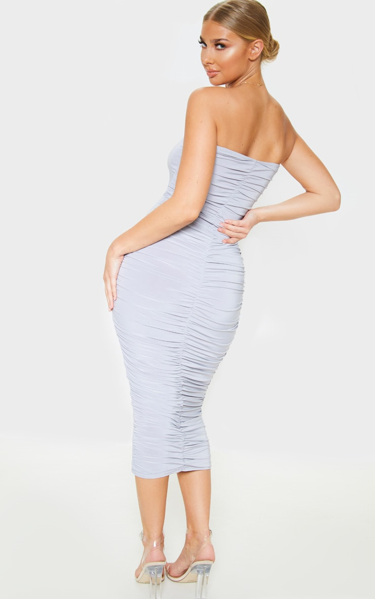 Grey Extreme Ruched Bandeau Midi Dress 2