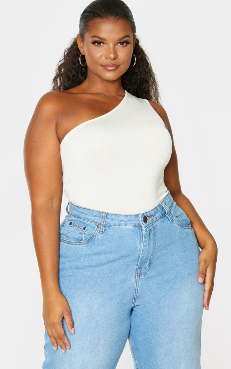 Plus Cream Knitted One Shoulder Top 4