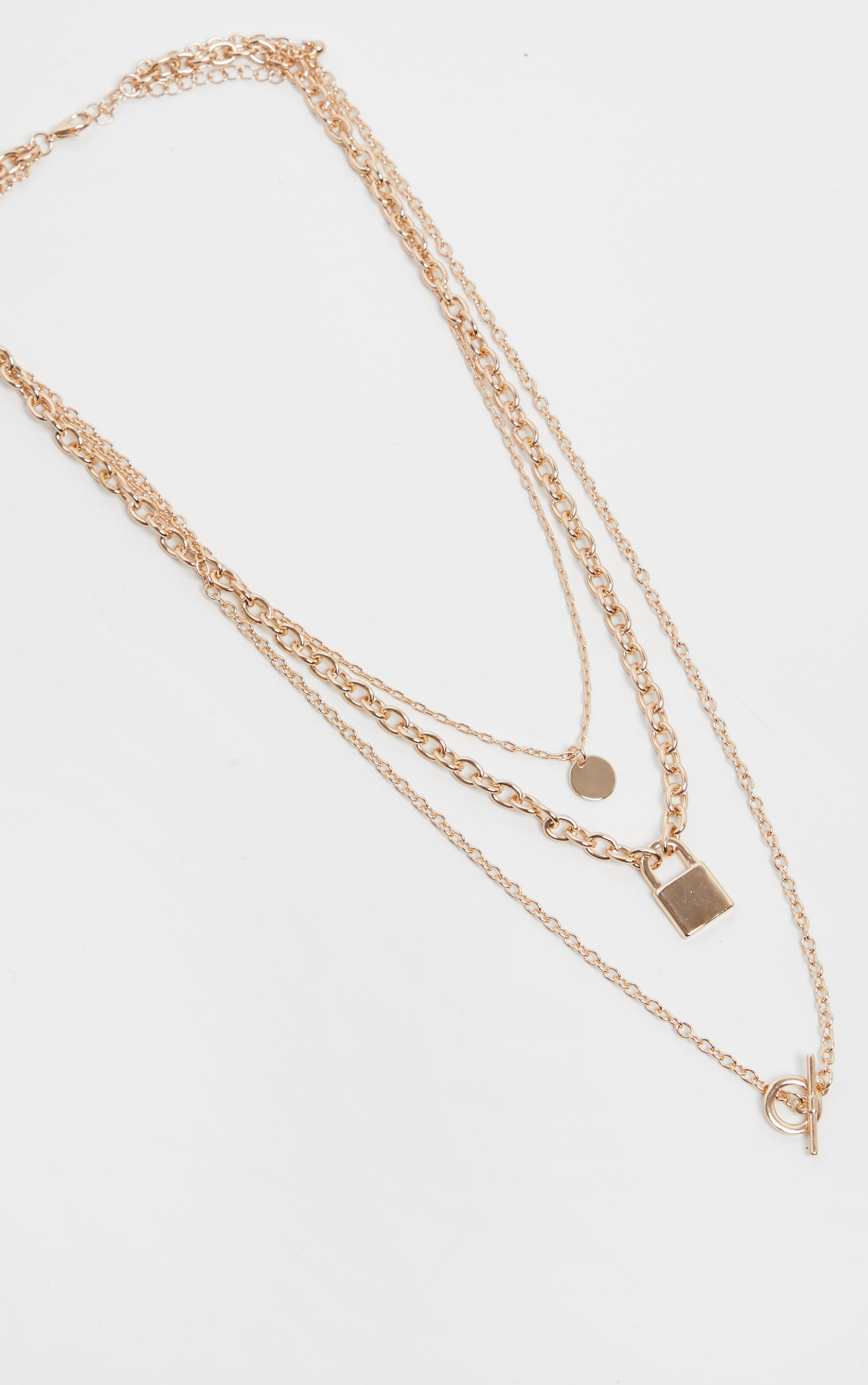 Gold T Bar And Padlock Triple Layering Necklace 4