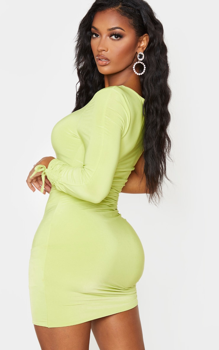Shape Lime Slinky Ruched Side One Sleeve Bodycon Dress 2