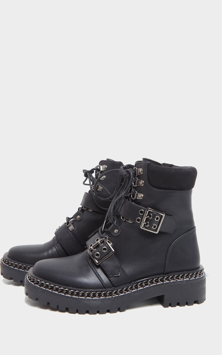 Black Chain Sole Clasp Buckle Lace Up Hiker Boot 4