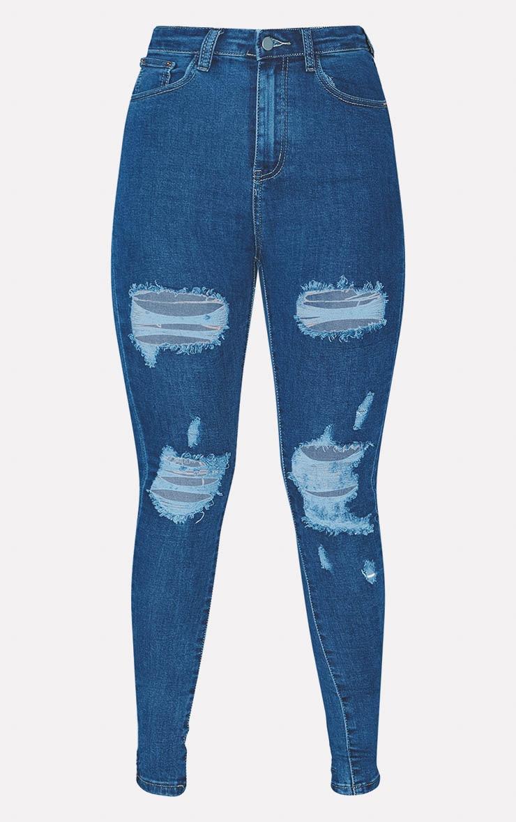 PRETTYLITTLETHING Mid Wash Distressed 5 Pocket Skinny Jean 3