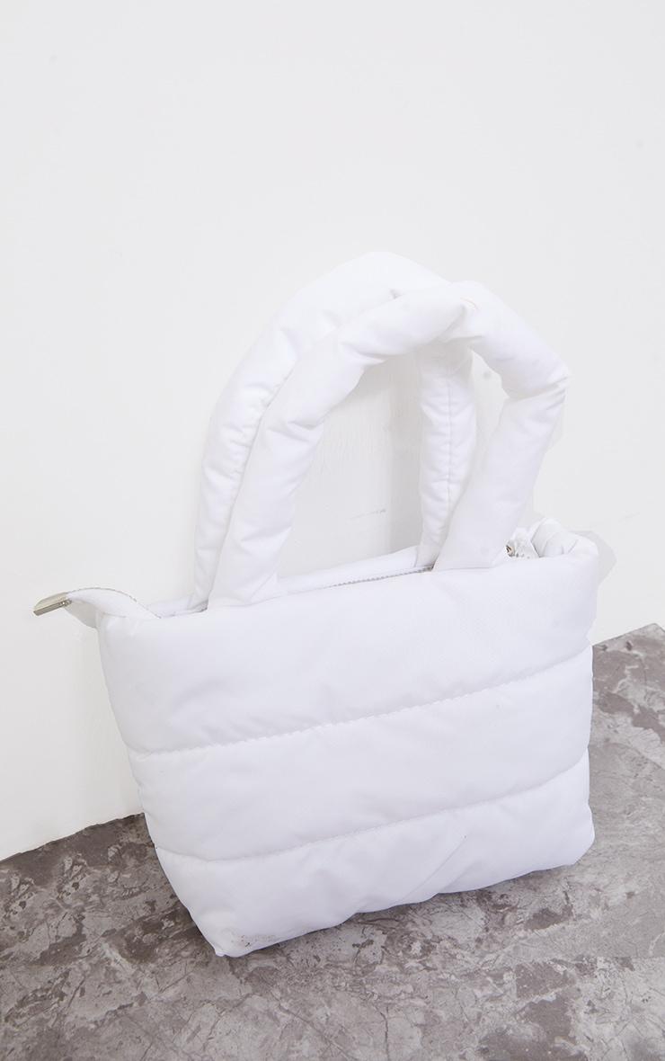 White Mini Quilted Nylon Tote Bag 2