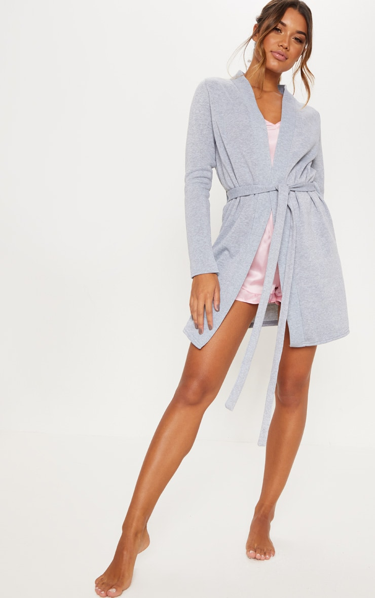 Grey Fleece Lined Dressing Gown 4