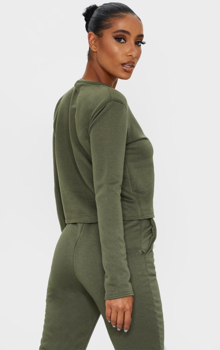 Khaki Long Sleeve Shoulder Pad Top 2