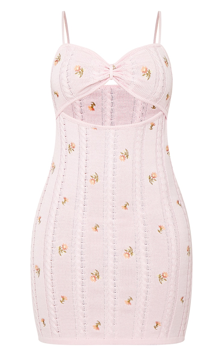 Baby Pink Embroidered Knitted Tie Front Mini Dress 5