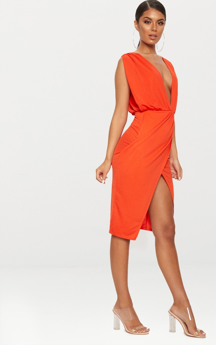 Bright Orange Ruched Shoulder Plunge Midi Dress 4