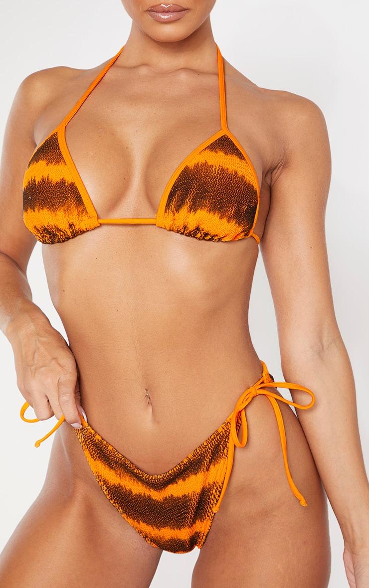 Orange Tie Dye Crinkle Triangle Bikini Top 5