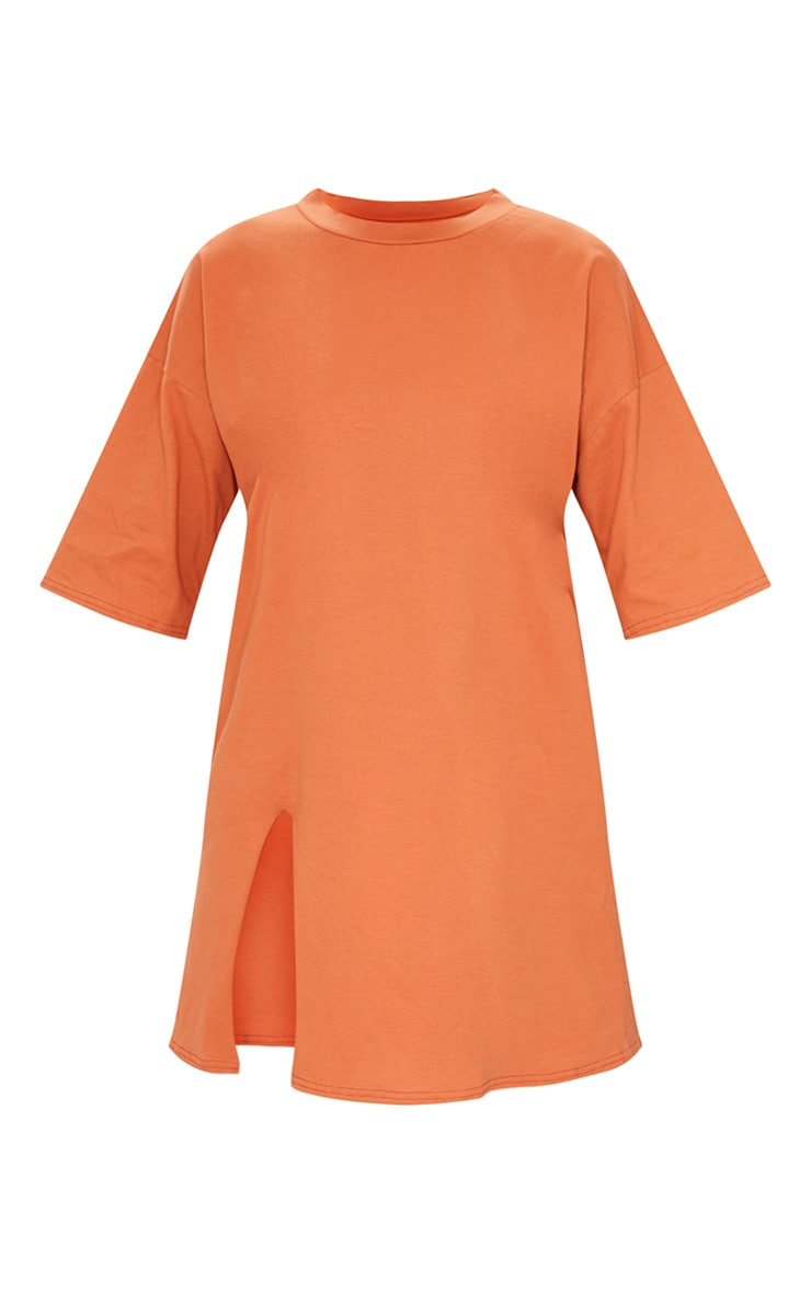 Rust Split Oversized Boyfriend T Shirt Dress 5