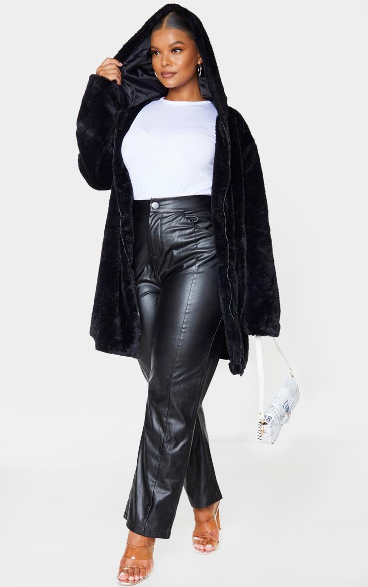 Plus Black Hooded Faux Fur Midi Coat 3