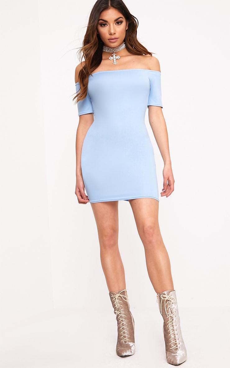 Dusty Blue Basic Short Sleeve Bardot Bodycon Dress  4