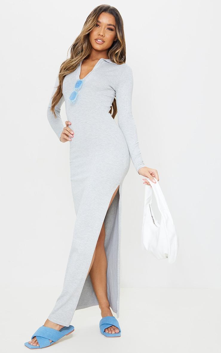 Grey Collar Detail Maxi Side Split Knitted Dress 1