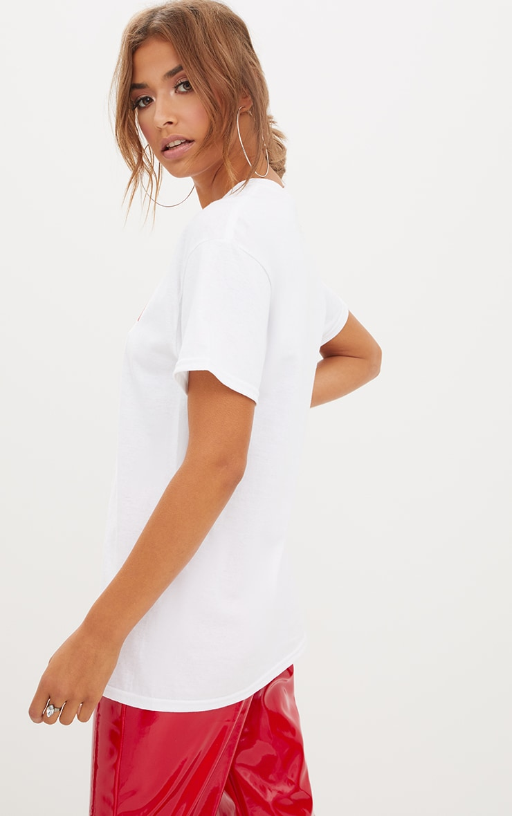 PRETTYLITTLETHING White Printed Oversized T Shirt 4