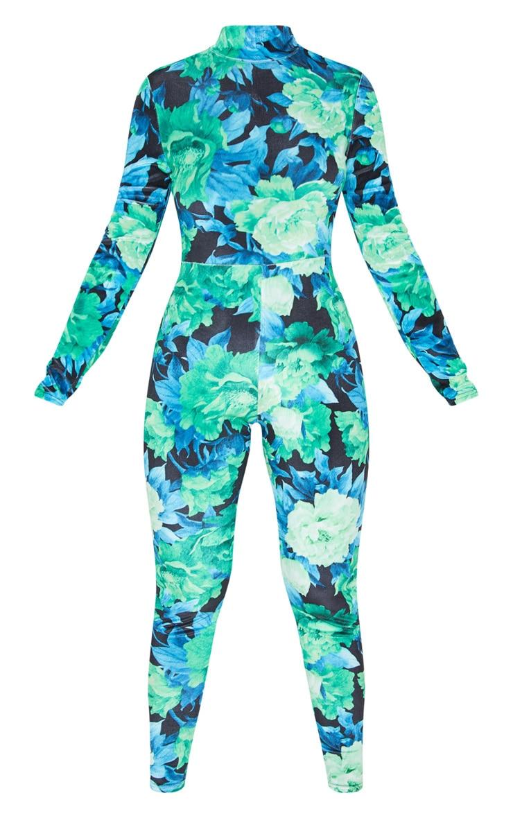 Blue Floral Print Velvet Jumpsuit 3