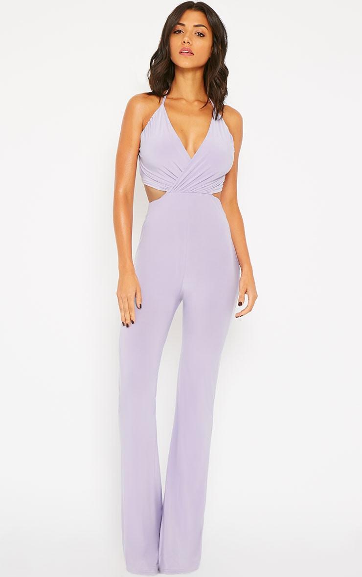 Tullia Lilac Slinky Cross Front Wide Leg Jumpsuit 1