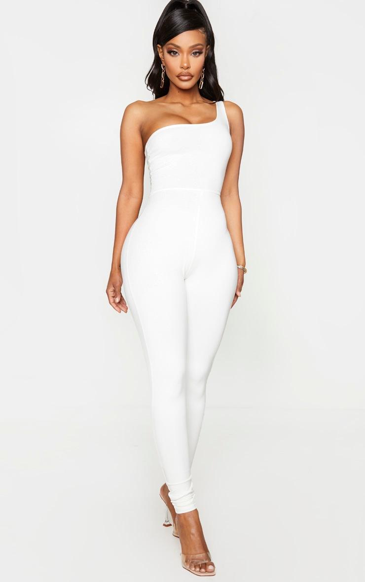 Shape Cream Cotton One Shoulder Jumpsuit 1