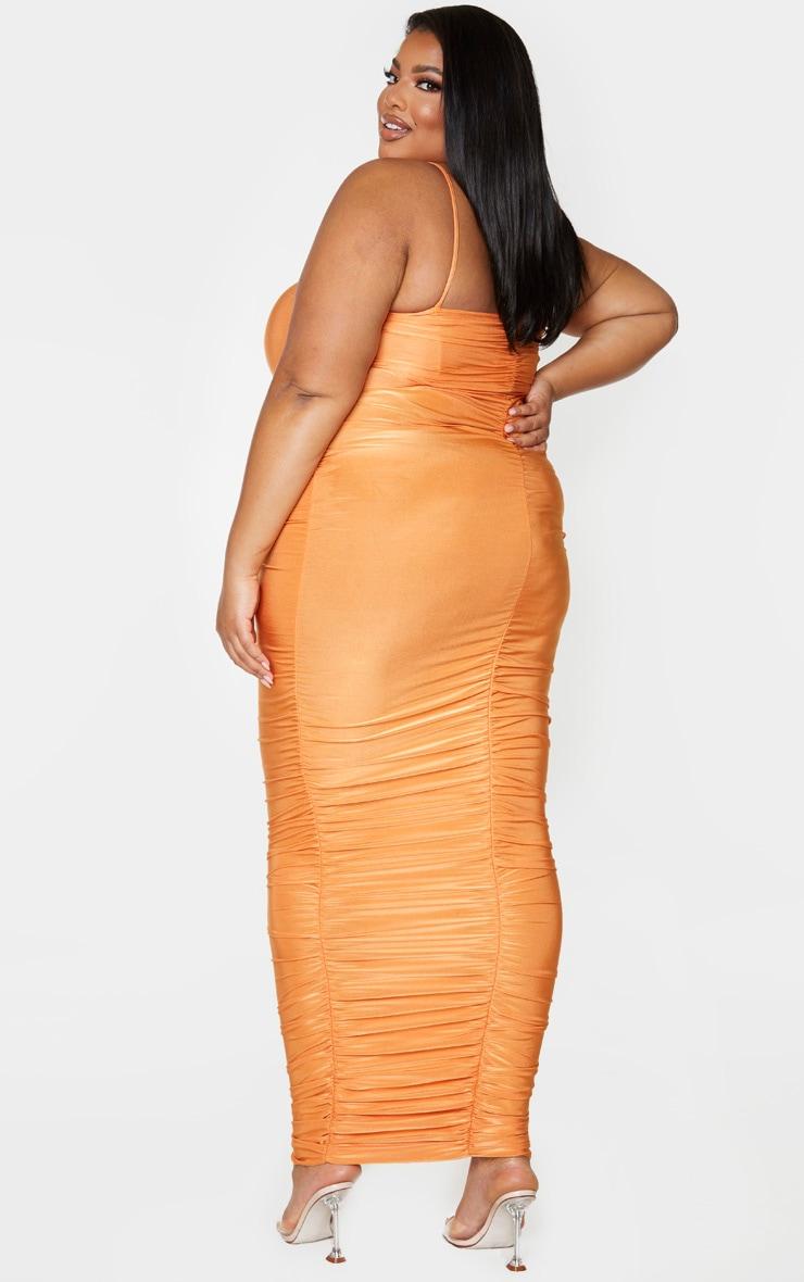 PLT Plus - Robe longue orange slinky froncée derrière à bretelles 2