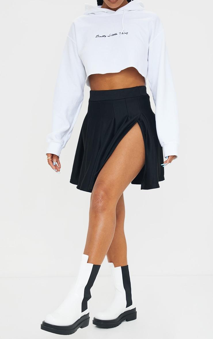 Jupe patineuse plissée noire en sweat  2