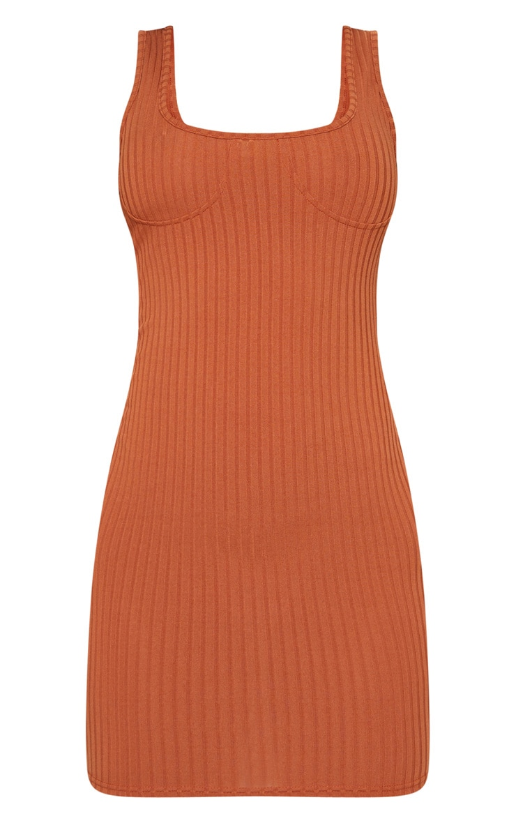 Tan Ribbed Cup Detail Sleeveless Bodycon Dress 3