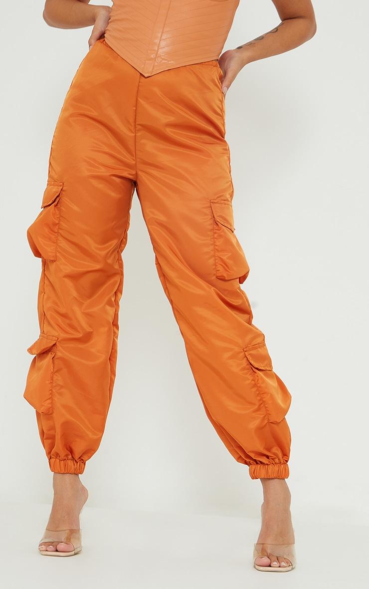 Petite Orange Dip Waist Cargo Pants 2