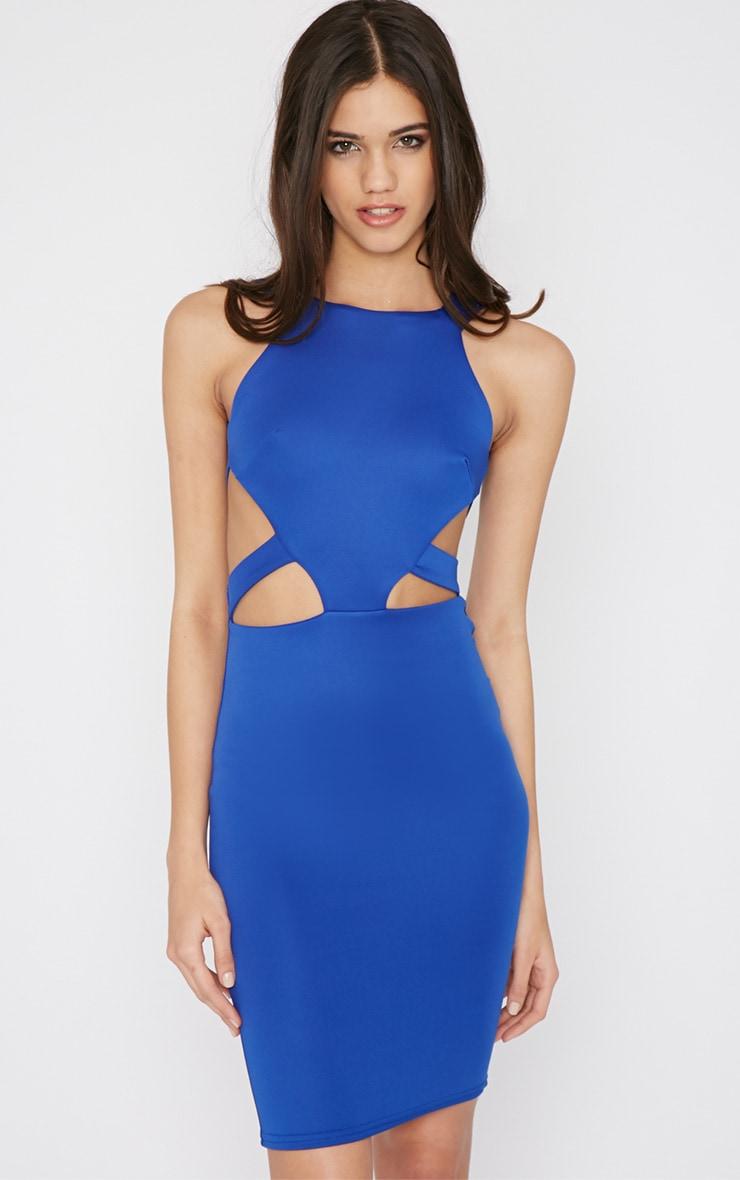 Saffron Cobalt Cut Out Midi Dress 3