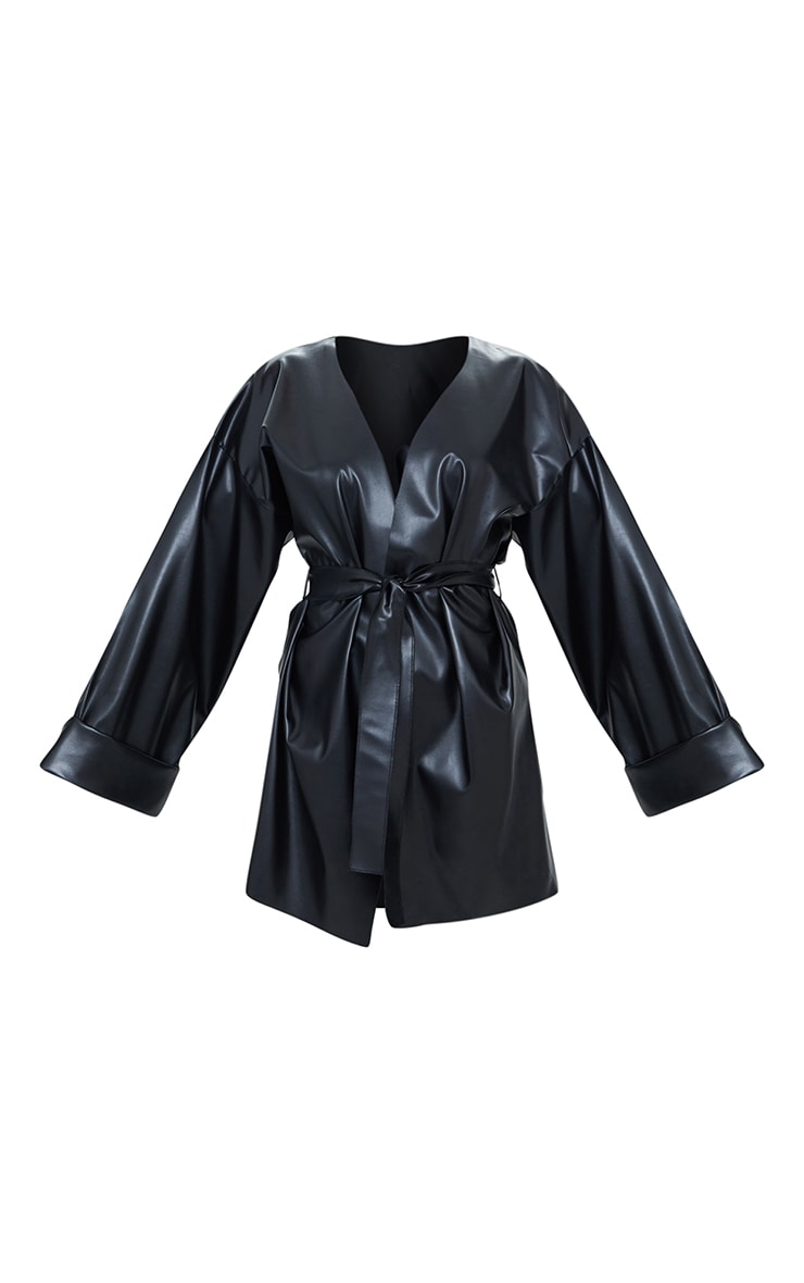 Black Faux Leather Belted Oversized Sleeve Blazer 5