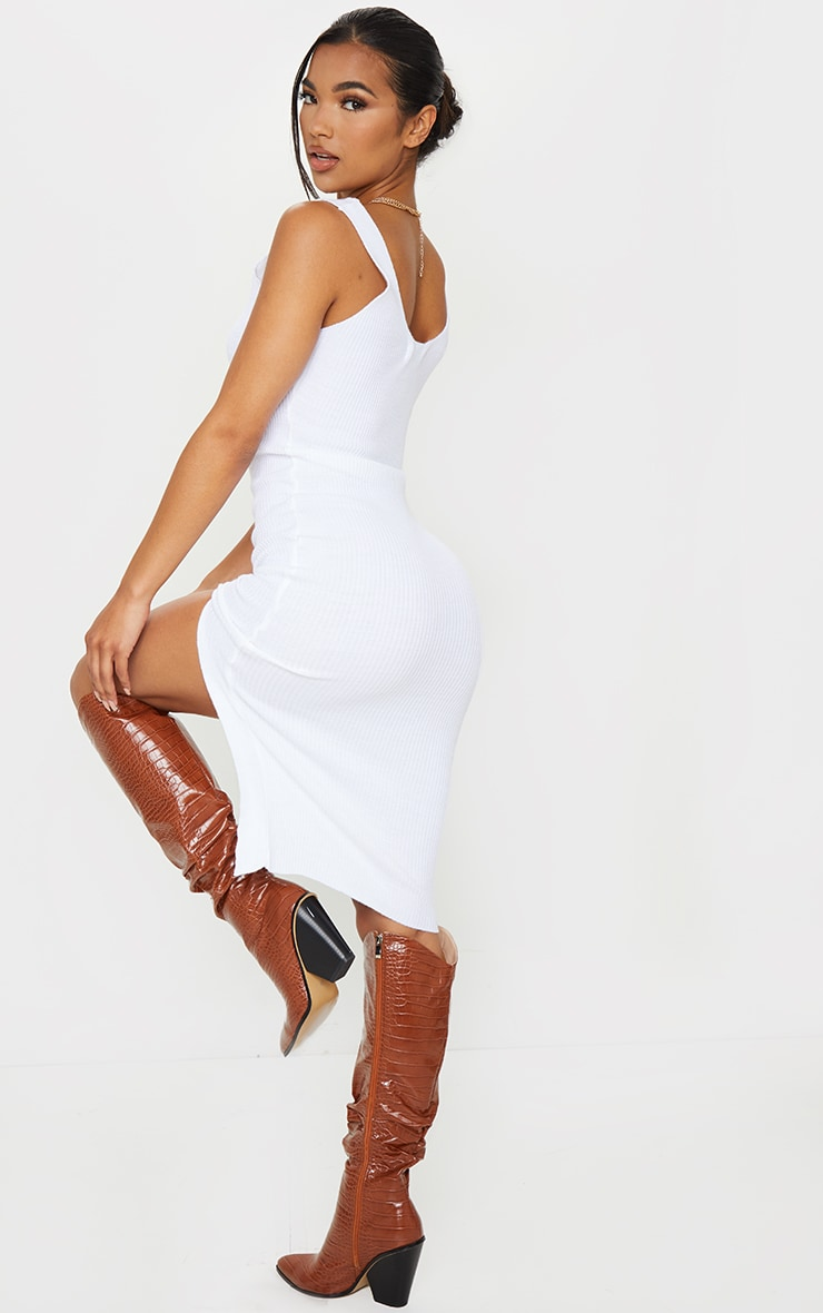 White V Neck Side Split Knitted Midi Dress 2