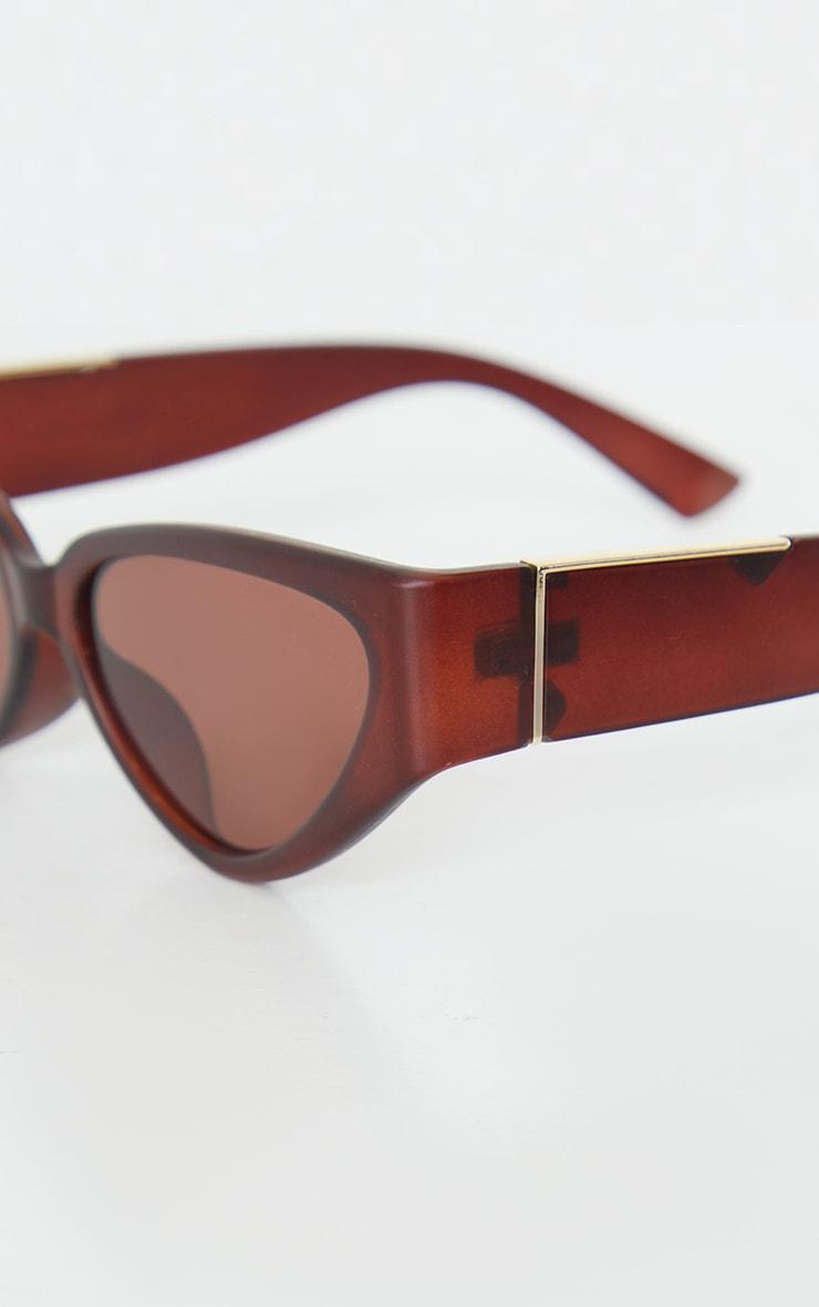 Brown Flat Cat Eye Sunglasses 3
