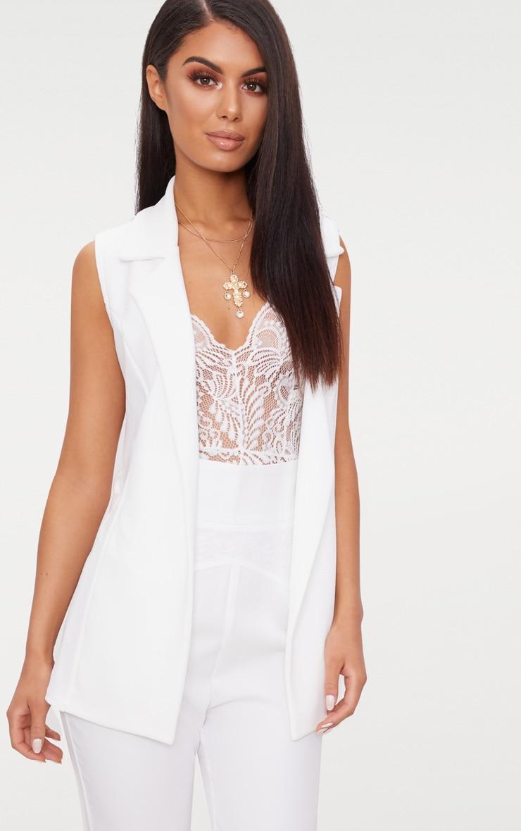 White Sleeveless Belted Blazer 1