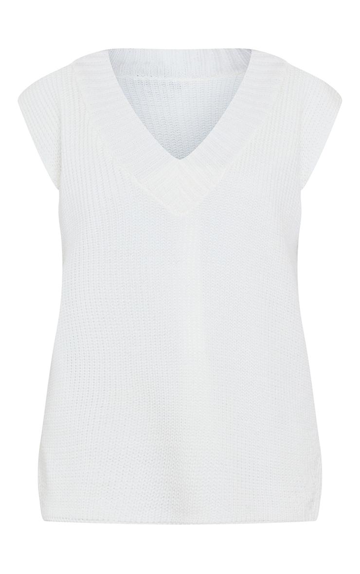 Cream V Neck Knitted Side Split Vest 5