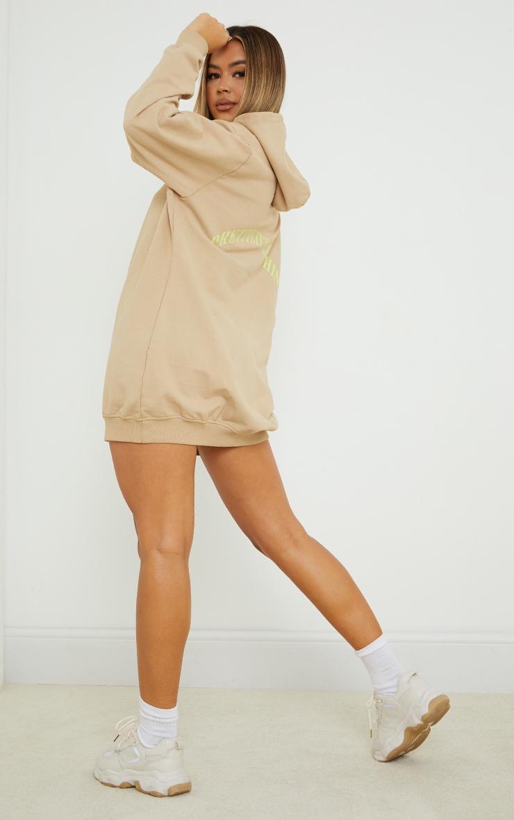 PRETTYLITTLETHING Slogan Stone Oversized Sweater Dress 3