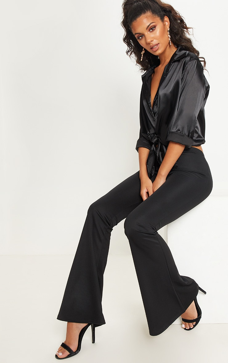 Black Ultimate Flared Trousers 1