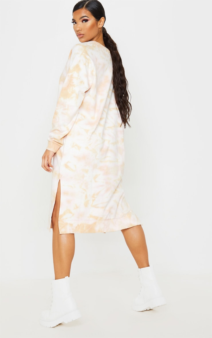 Blush Tie Dye Oversized Long Sleeve Sweat Midi Dress 2