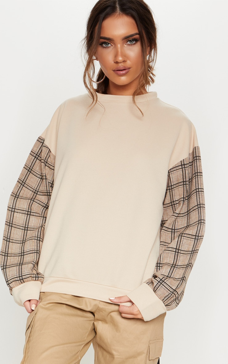 Sand Contrast Check Sleeve Sweater 4
