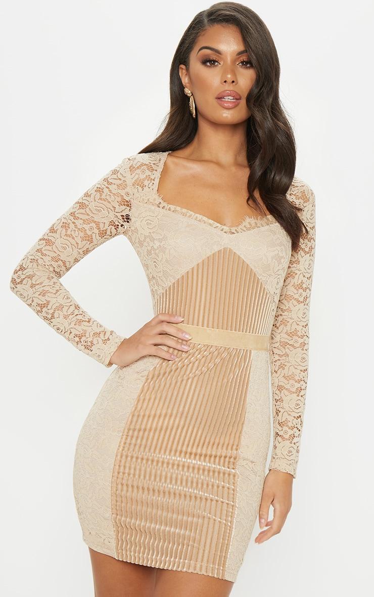 Nude Lace Velvet Insert Bodycon Dress