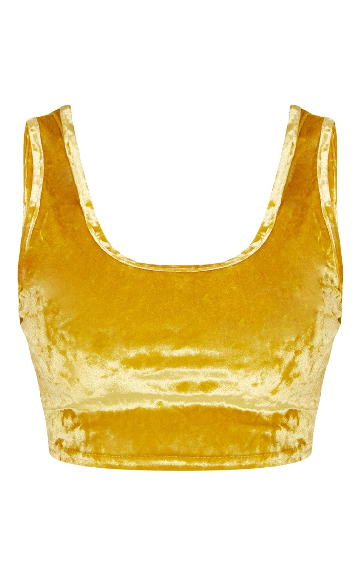 Shape Mustard Crushed Velvet Scoop Neck Crop Top 3